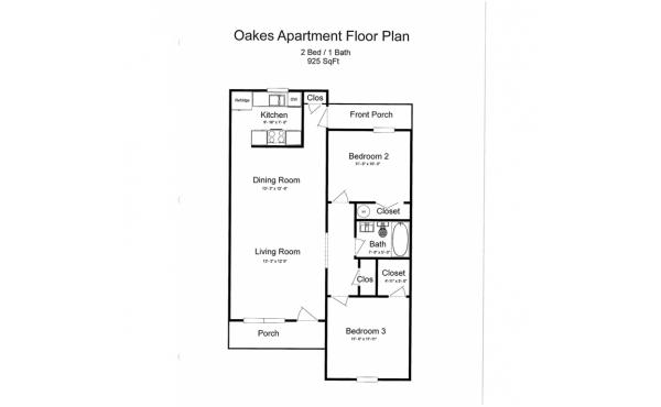 Oakes 2 bdr 1 bath floorplan