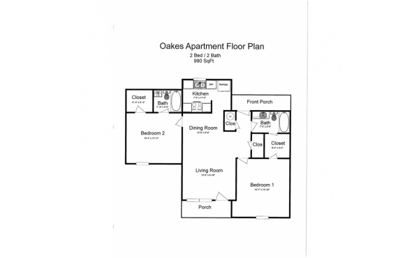 Oakes 2 bdr 2 bath floorplan