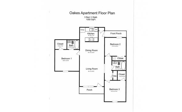 Oakes 3 bdr 2 bath floorplan