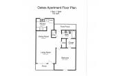 Oakes 1 bdr 1 bath floorplan