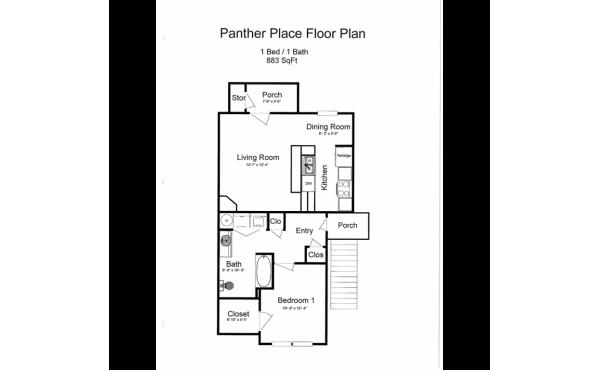 Panther Place 1 bdr 1 bath floorplan