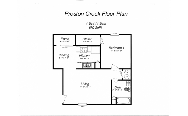 Preston Creek 1 bdr 1 bath floorplan