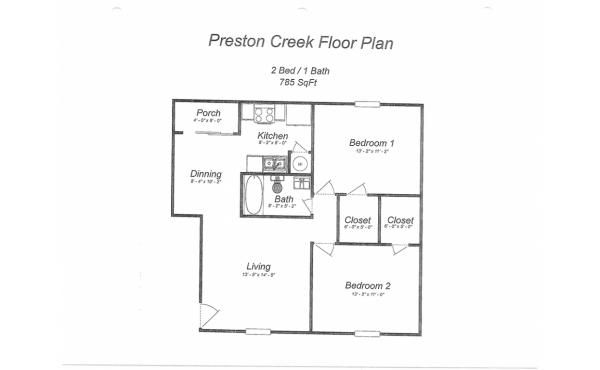 Preston Creek 2 bdr 1 bath floorplan